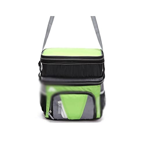 Dzwyc Contenedor de Comida Bolso de Picnic Aislado de Doble Capa de Doble Capa portátil para Camping al Aire Libre Familiar Gran Espacio (Color : Green, tamaño : 23 * 16 * 17cm)