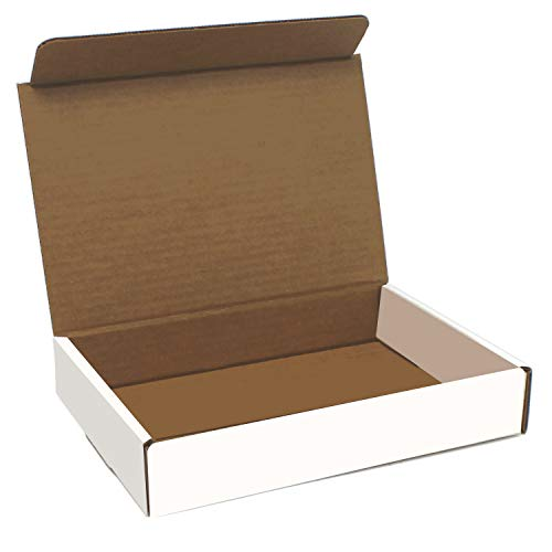 White Cardboard Shipping Box - Pack of 25, 9 x 6.5 x 1.75 Inches, White, Corrugated Box