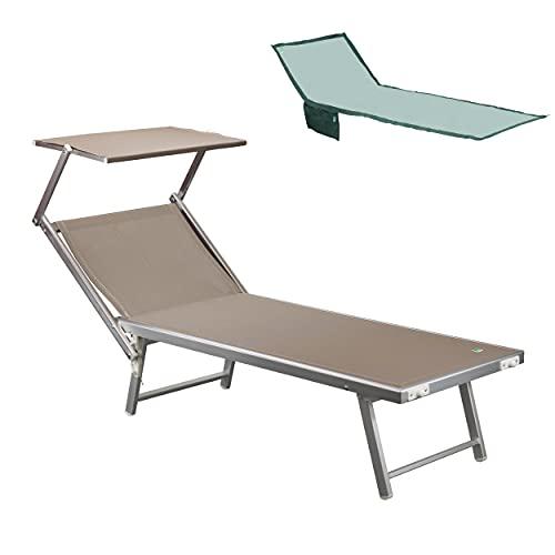 Totò Piccinni Salento Lettino Prendisole Pieghevole in Alluminio con TETTUCCIO Mare Spiaggia Piscina Giardino (Tortora)
