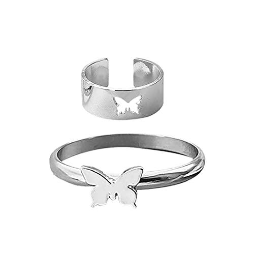 minjiSF Par de anillos a juego para mujer, anillos clásicos, joyas, alianzas, anillos de boda, anillos de compromiso, anillos de amistad, anillos de compromiso, anillos de banda (plata1)