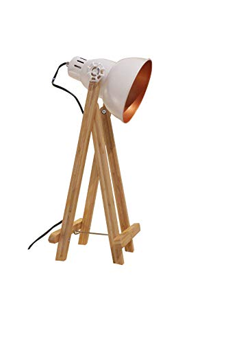 Lámpara a mesa proyector Déco acero blanco pies de madera–diseño industrial factory–Oxi