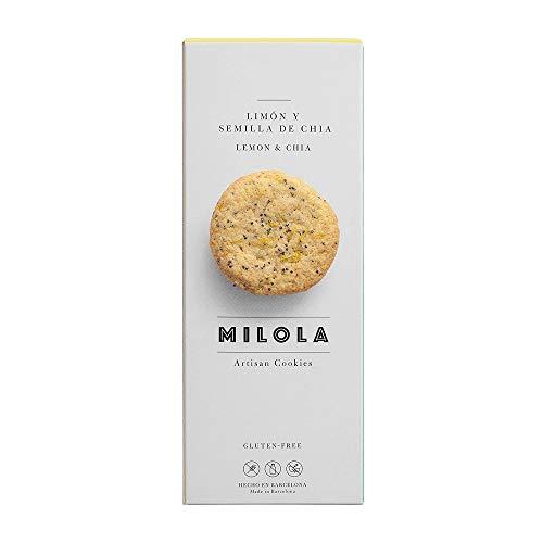 MILOLA Galletas Gluten Free. Pack 6 Cajas de 140 - Sin Gluten, Sin Lácteos, Sin Gluten, Sin Aceite de Palma (LEMON AND CHIA)