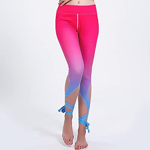 Yoga Impresión Pantalones,Mujer Gradient Bandage Irregular 3D Impresión Entrenamiento High Waisted Patrón De Yoga 3/4 Pantalones, Delgado Y Ligero Quick-Drying Hip-Lifting Control De La Barriga, L