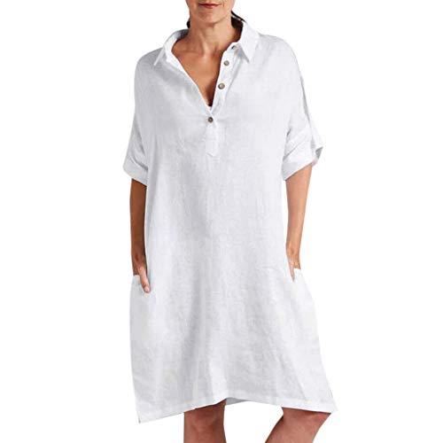 Damen Casual Lose Kleider Sommer Lange Kleid Solide Farbe äRmellose Freizeit Kleid Tasche V-Ausschnitt Leinen Maxi Kleid Kaftan Kleid Luftiges Kleid Leinenkleid Tuchkleid Blusenkleid Weiß S