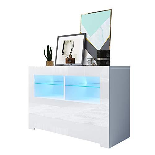 Artist Hand LED TV Stand Cabinet Unit Modern TV Desk With Storage For Living Room Home Forniture 98CM Width White Matt Body And High Gloss Door LED Light