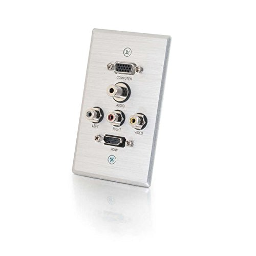C2G/Cables to Go 41040 HDMI, VGA, 3.5mm Audio, Composite Video and RCA Stereo Audio Pass Through Single Gang Wall Plate, Brushed Aluminum