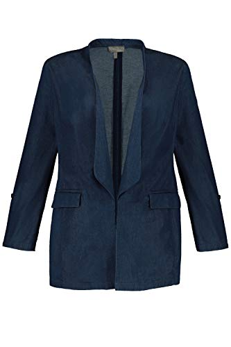 Ulla Popken Damen große Größen Blazer, Jeans-Look, Spatenkragen, Krempelärmel, Selection Dark Blue Denim 54 747717 93-54