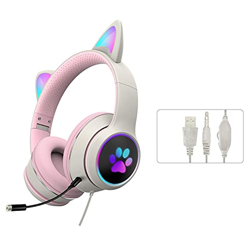 Cat Ear Gaming Headsets with Mic RGB LED Light, 3.5MM Noise Reduction Flashing Glowing Headphones,7.1 Stereo Sound Surround Gamer Headphones for PS 4, PS5,PC, Phone