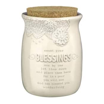 Amazon Com Mud Pie Inspirational Count Your Blessings Jar Set Home Kitchen