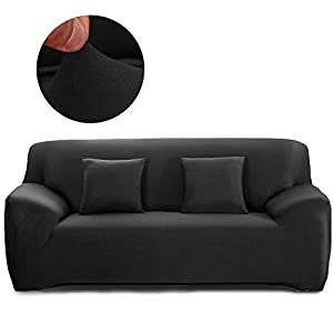 Cornasee Funda de sofá Elastica 3 plazas,Cubierta para sofá con Cuerda de fijación,Negro