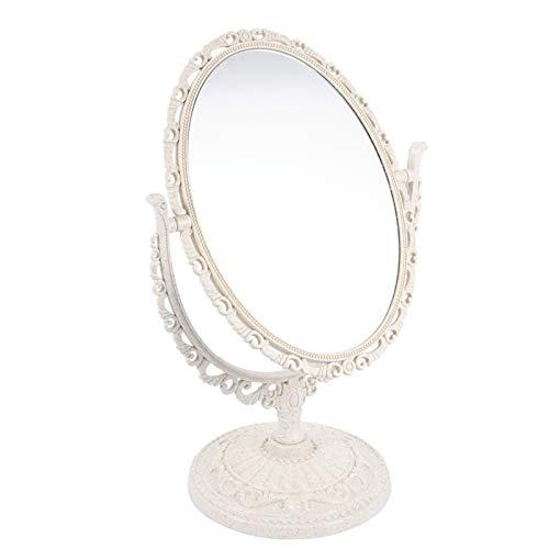 SOLUSTRE Espejo de Maquillaje Vintage Espejo de Tocador Ovalado con Soporte Espejo de Tocador Giratorio de Doble Cara con Lado de Ampliación (Ovalado Beige)