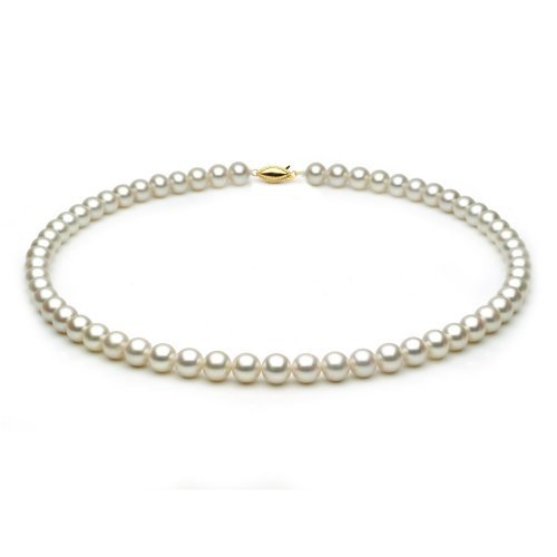 14k White Gold 7.0-7.5mm White Freshwater Cultured Pearl Necklace AAA Quality, 18 Inch Princess: Unique Pearl
