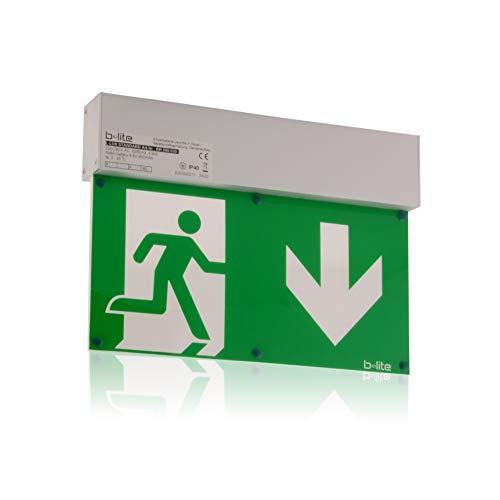 Notleuchte Rettungszeichenleuchte Brandschutz-Zeichen Notausgang, LED, IP 40 mit Akku, Aluminium für Deckenaufbau geeignet, Notlicht 3h, inkl. Piktogrammset