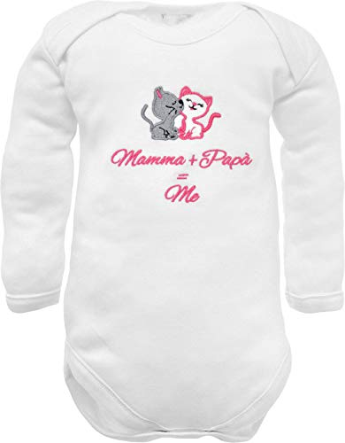 corredino neonato Body de bebé de manga larga con bordado con frase divertida bordada y bordada para mamá + papá = me y gatitos - Idea de regalo para nacimiento bianco manica lunga 0-3 Meses