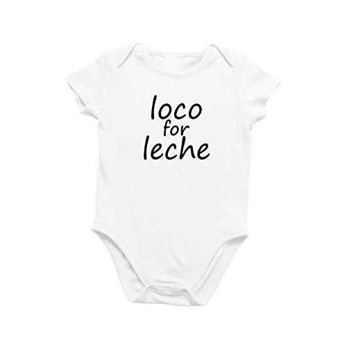 Onesie Organic Baby One Piece Short Sleeve Funny Cute Trendy Minimal Bodysuit 0-12 Months - Loco for Leche (9-12 Months) White