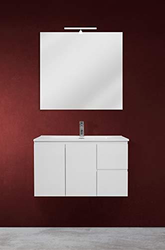 OrionShop Mobile Bagno Sospeso Ariete da 80cm Bianco con Lavabo Specchio e Lampada LED Inclusi