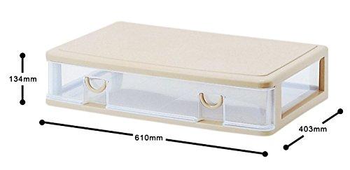 サンコープラスチック衣類収納薄型ワイドエルピス幅61×奥40.3×高13.4cmソフトベージュ