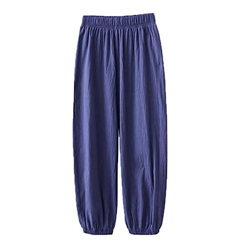 Pantalones De Estilo Casual para Mujer Primavera Verano Nuevos Pantalones De HaréN De Cintura EláStica BáSicos Retro Sueltos para Mujer Pantalones