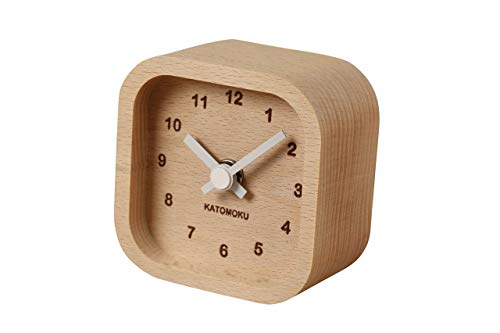 KATOMOKU muku mini clock km-25 角 白 木 ビーチ