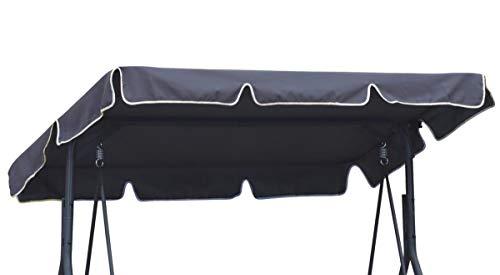 Ferocity Universal Techo Solar para balancín Toldo Fundas para balancines Toldo de Repuesto para Columpio de jardín tamaño 110 x 188 cm Grafito [101]