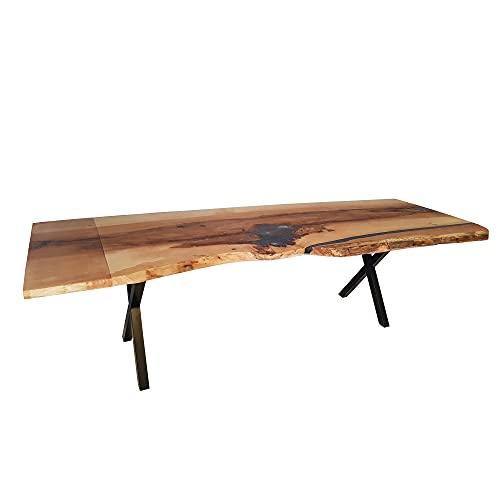 Baron - Tavolo da pranzo in resina epossidica, in legno massello, 270 x 84/92 cm, fatto a mano
