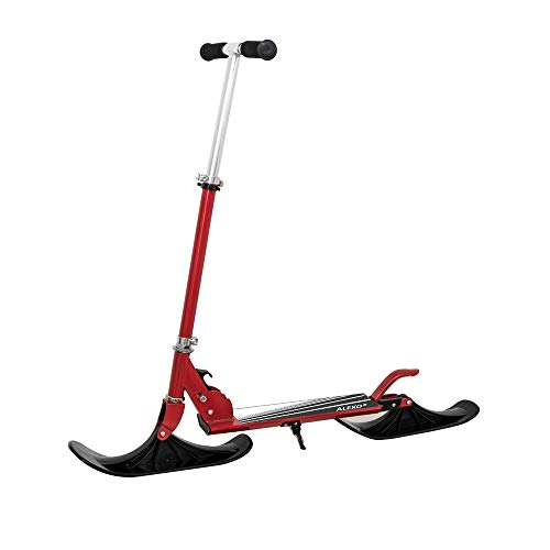 ALEKO SSC03RD Deluxe Street Ski 2-in-1 Youth Kick Stunt Scooter with Snow Ski Attachment Red
