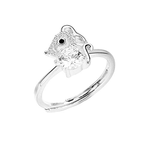 Leiouser New Year Mascot Crystal Mouse Charm Ring Adjustable Attract Wealth Lucky Cute Rat Ring Band Fashion Jewelry
