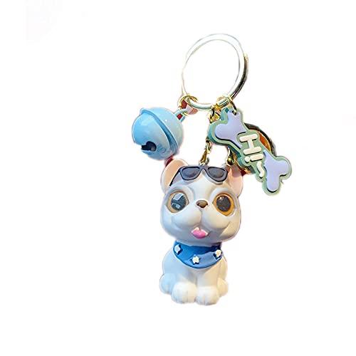 JKDFGJ Moda linda mascota gato y perro llavero animal de dibujos animados colgante llavero pareja coche bolsa llaveros accesorios regalos