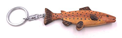 H-Customs Saibling Forelle Fisch Angeln Echt Holz Edel Handmade Schlüsselanhänger Anhänger