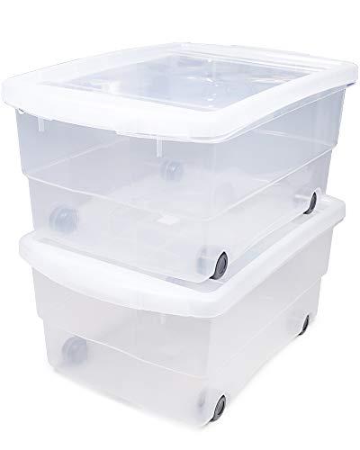 Ondis24 2X Kunststoffbox mit Deckel & Rollen, Rollbox 80L, Spielzeugkiste, Kiste stapelbar, Aufbewahrungsbox transparent