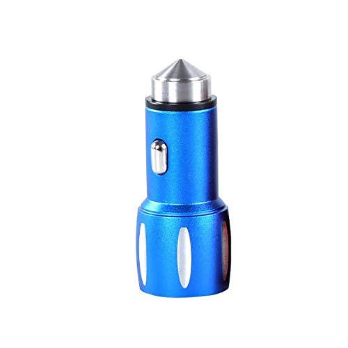 hgbygvuy For Car Caja de Aluminio Martillo Doble Puerto del Cargador for Todos los Dispositivos Digitales de Interfaz USB (Color : Blue)