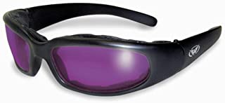 Global Vision Chicago Padded Riding Glasses (Black Frame/Purple Lens)