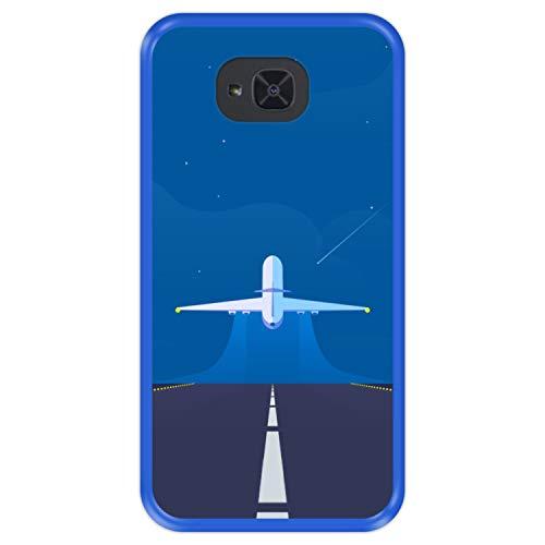 Hapdey Funda Azul para [ Bq Aquaris U2 - U2 Lite ] diseño [ Avión despegando, Listo para una Nueva Aventura ] Carcasa Silicona Flexible TPU