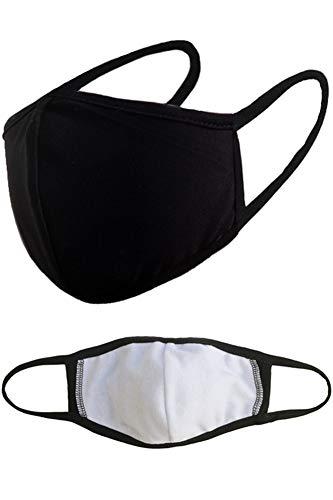 3 Packs Interior Pocket Unisex Reusable Washable Mouth Cotton Face Masks - Black Adults