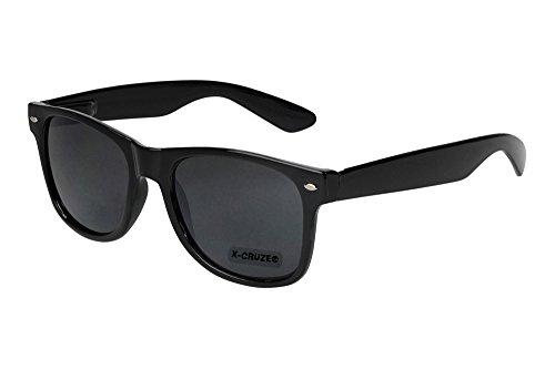X-CRUZE® 8-001 Nerd Sonnenbrille Unisex Herren Damen Männer Frauen Brille Nerdbrille Retro Vintage - schwarz