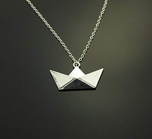 Kette Origami Papier Boot Segelboot Anhänger silbern Juvelato
