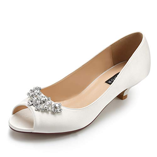 ERIJUNOR E0111 Women Comfort Low Kitten Heels Rhinestones Peep Toe Wedding Bridal Shoes Flats Ivory Size 10