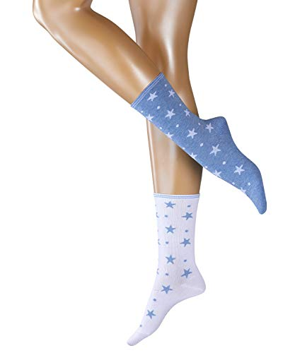 ESPRIT Damen Dots und Stars 2-Pack W SO Socken, Blau (Sortiment 50), 35-38 (2er Pack)