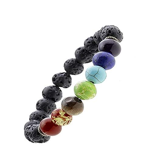 Younoo1 - Pulsera de piedra natural para hombre y mujer, 8 mm, con cuentas de lava, elástica, piedra natural, chakra y yoga