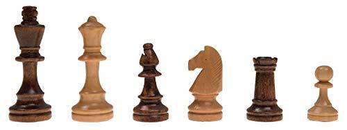 ROMBOL Schachfiguren 'Peter' (KH 78), Staunton Design, Schima-Holz Natur und braun gebeizt, gewichtet, Filzsockel, im Baumwollbeutel