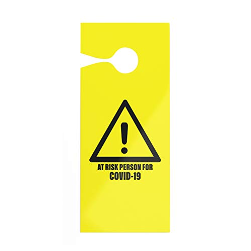 Pro-Graphx Door Hanger - at Risk Person for Coronavirus COVID-19 Quarantine Self Isolation Do Not Disturb Sign for Meeting in Session, Office, Home, Clinic, Therapists, Hotel, Health Care (2-Pack)