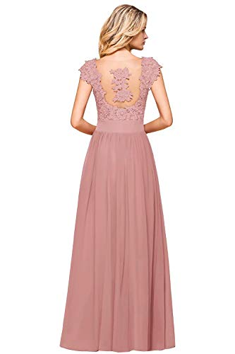 MisShow Damen Chiffon Ballkleid Abendkleid Hochzeitskleid mit Blumenstickerei lang Alt Rosa 46