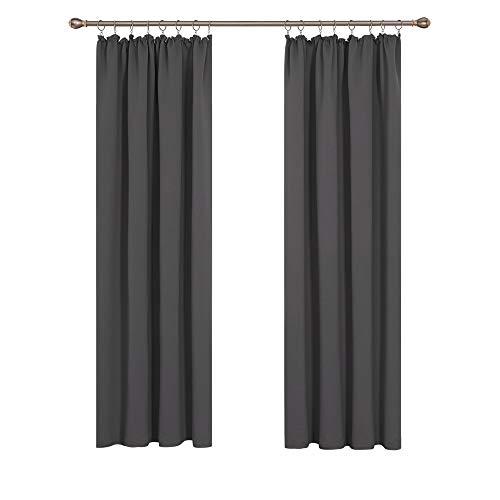 Deconovo Abdunklungsvorhang Gardinen Lärmschutzvorhang mit Kräuselband 220x140 cm Dunkelgrau 2er Set