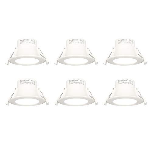 Lamparas Focos Empotrables LED en Techo Empotradas 8W LED Pequeños Luz Fria 5000K Diámetro Agujero 70-85MM AC100~240V IP44 para Cocina Baño Salon Lot de 6 de Enuotek