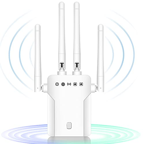 CINEMON Repetidor WiFi, Repetidor de Señal WiFi de 1200 Mbit /s, Repetidor WiFi 5g Amplificador WiFi con conexión LAN, Funciona con Todos los enrutadores WLAN , Cobertura de hasta 200 m² (Blanco)