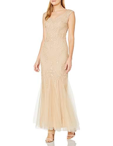 Cachet Damen V Ausschnitt Band Spitze Kleid - Beige - 36