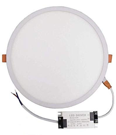 Pack 5x Panel LED redondo plano, 20w, CORTE AJUSTABLE (50-200mm). Color Blanco Neutro (4500K).1800 lumenes. A++