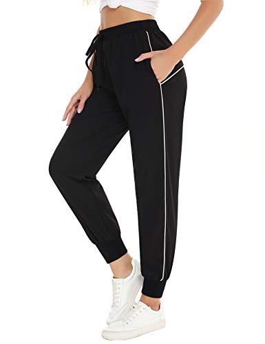 Irevial Damen-Schlafanzughose, leger, bequem, elastischer Taillenbund, Kordelzug, Lounge, Nachtwäsche, Sweatpants mit Taschen - Weiß - X-Groß