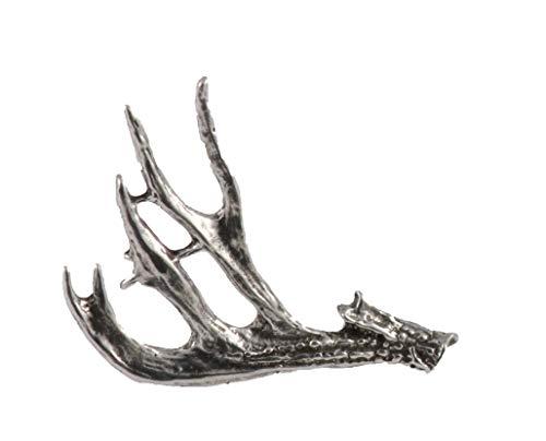Mule Deer Antler Shed Mammal Pewter Lapel Pin, Brooch, Jewelry, M012
