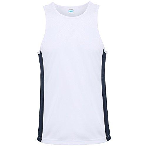 Awdis Just Cool - Débardeur Sport - Homme (2XL) (Blanc Arctique/Bleu Marine)